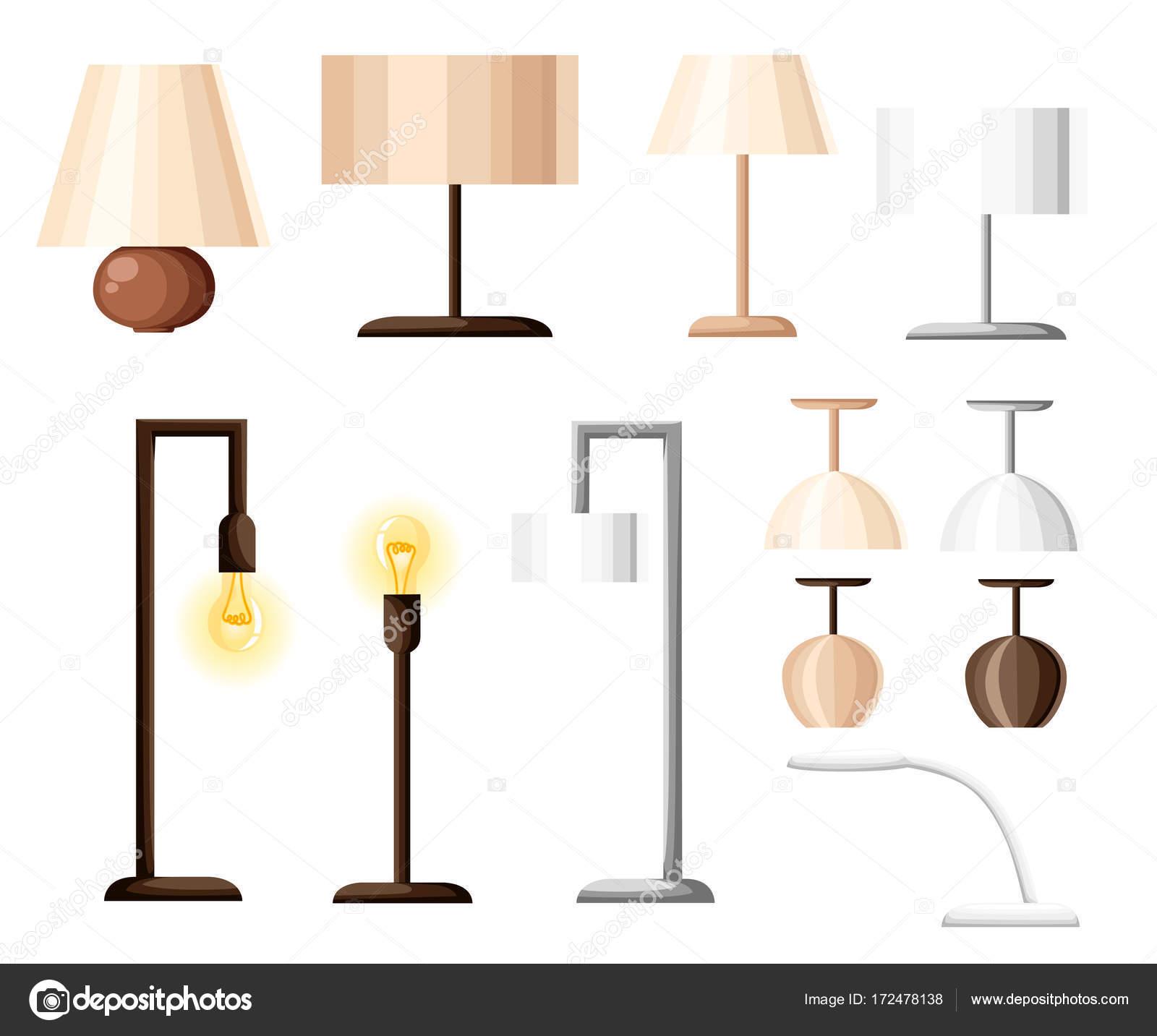vector set different types indoor lighting pendant ceiling light spotlight stock vector. Black Bedroom Furniture Sets. Home Design Ideas