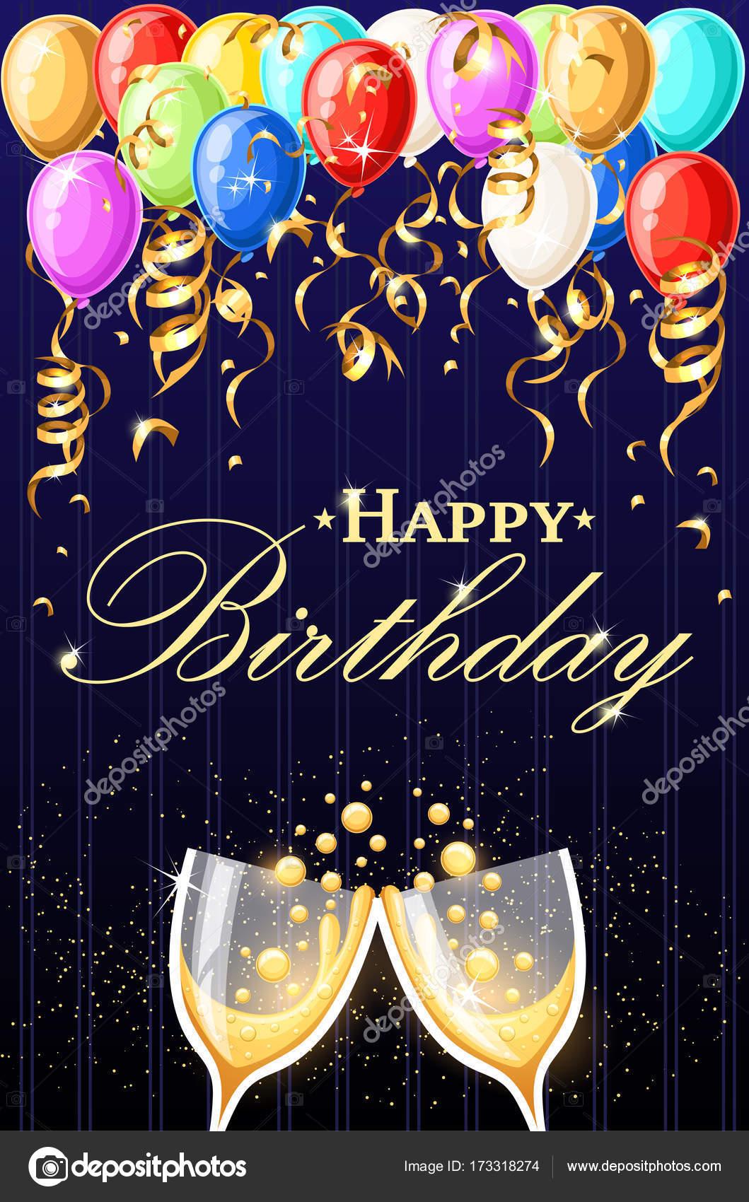 Happy Birthday Vector Illustration Golden Foil Confetti