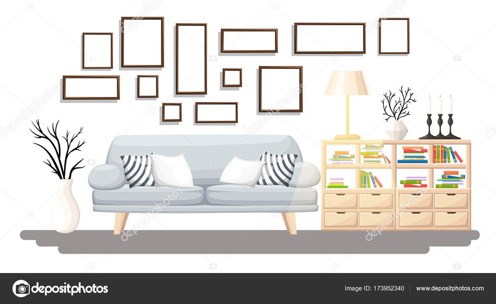 Interior Design. Modernes Wohnzimmer Mit Grauen Sofa, Vase, Regal Mit  Büchern Und Stehleuchte