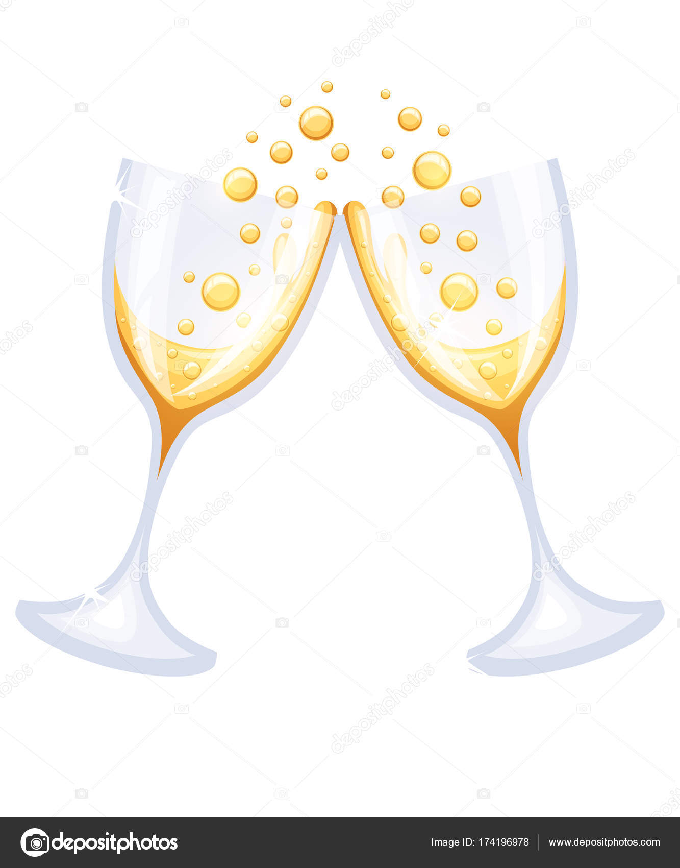 two glasses champagne merry christmas happy new year concept vector stock vector