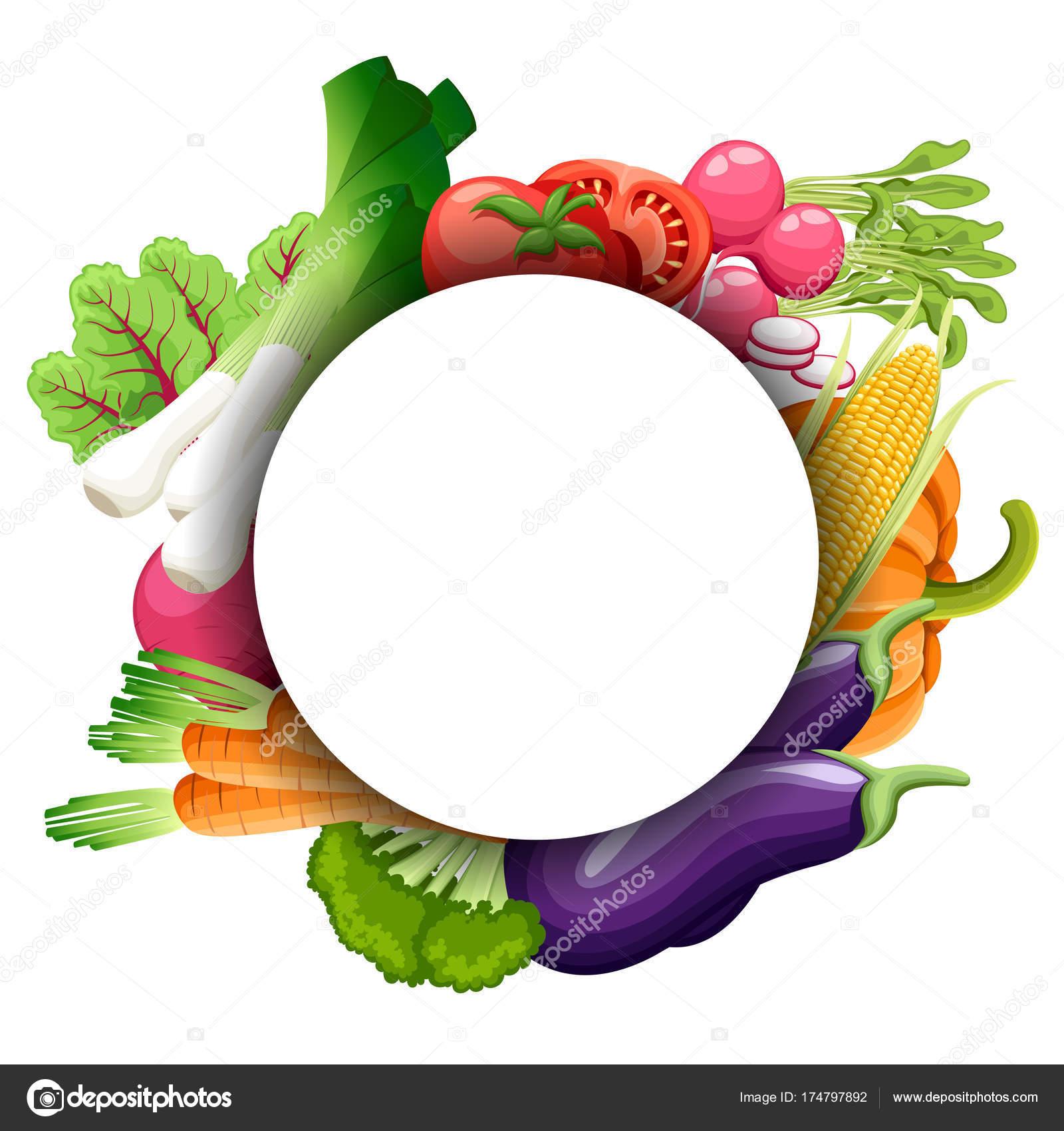 set watercolor vegetables template your design vector illustration