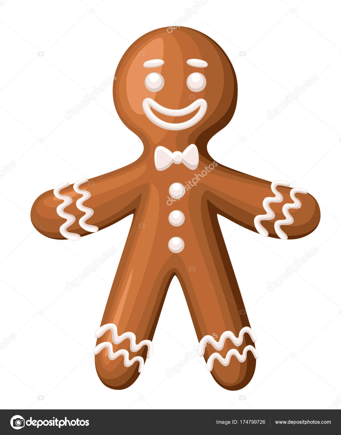 christmas gingerbread man cookie isolated white background holiday vector illustration stock vector - Christmas Gingerbread Man