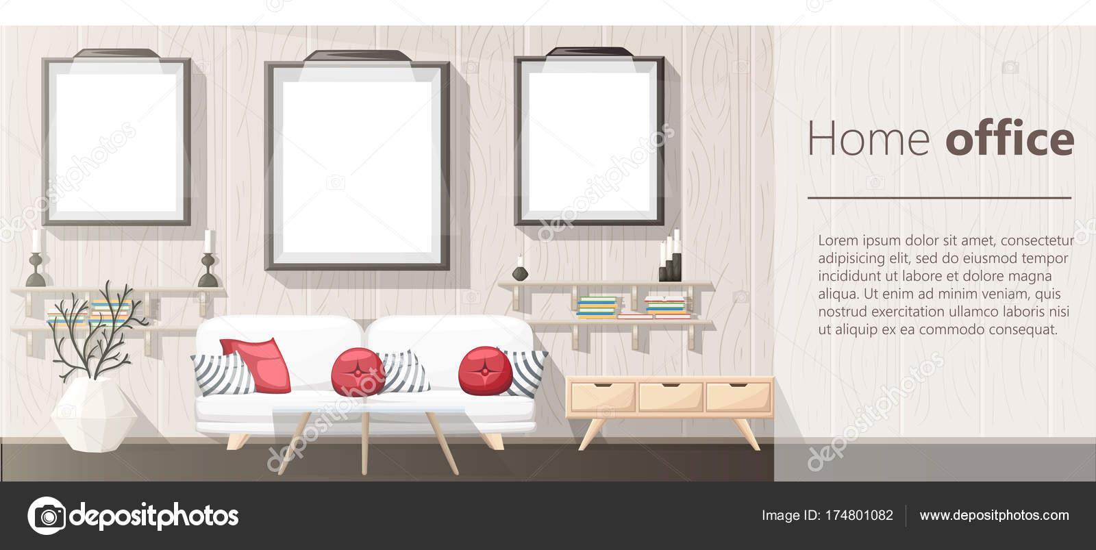 Interior Design Modernes Wohnzimmer Mit Grauen Sofa Vase Regal Mit U2014  Stockvektor