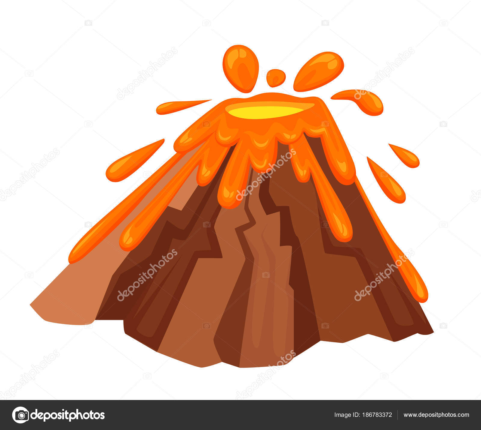 Erupción de volcán con ilustración lava caliente
