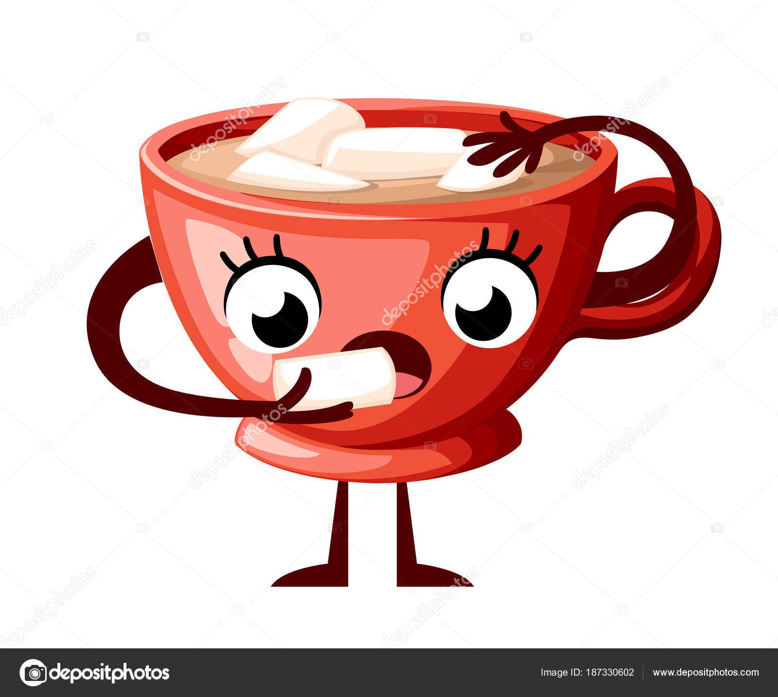 Design De Personagens De Copa Café Lindo. Copa Do Estilo Dos Desenhos  Animados Comer Marshmallow. Copa Do Mascote Vermelho. Ilustração Em Vetor  Isolada No ...
