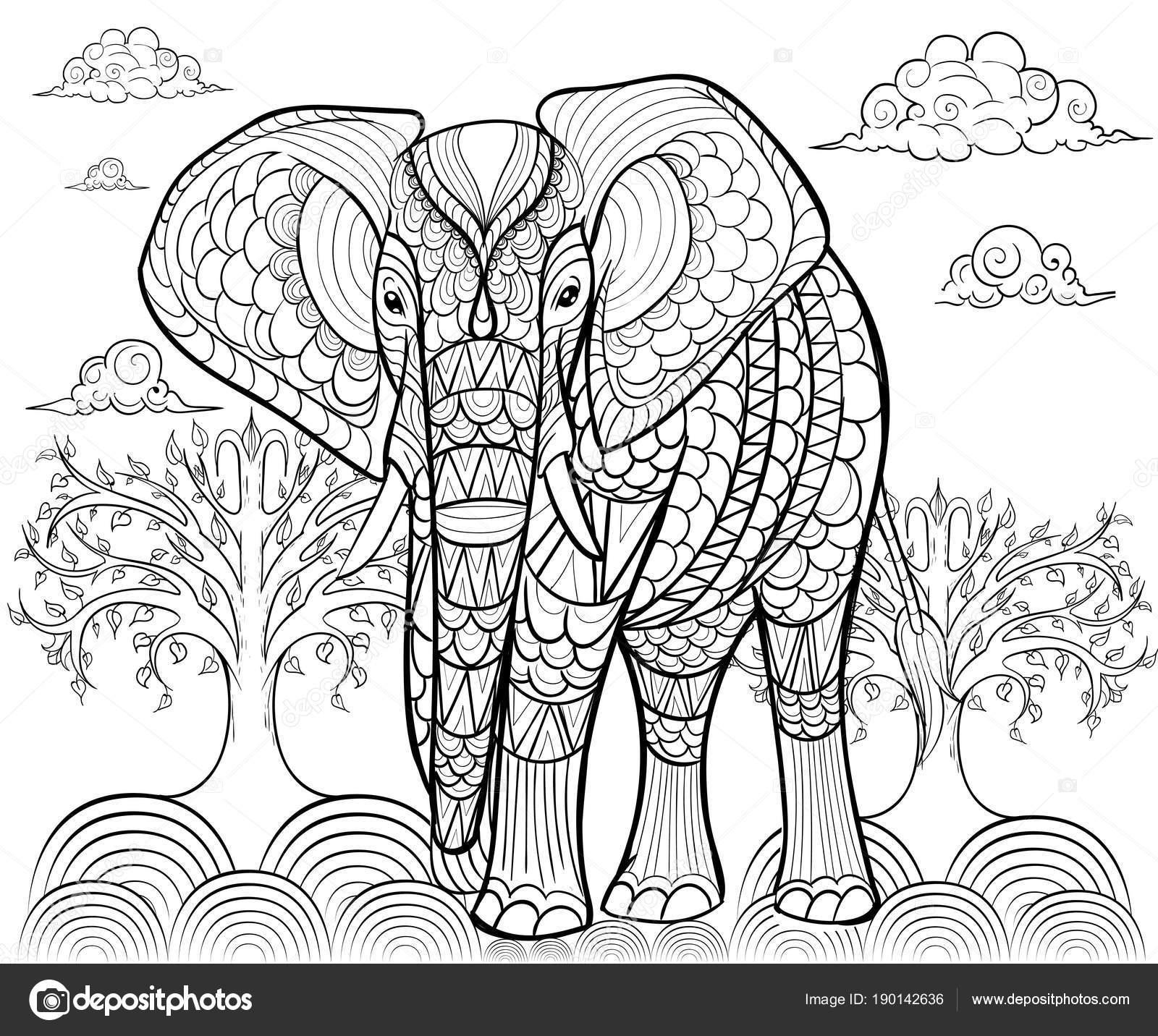 Dorable Página Para Colorear Elefante Con Diseño Adorno - Dibujos ...