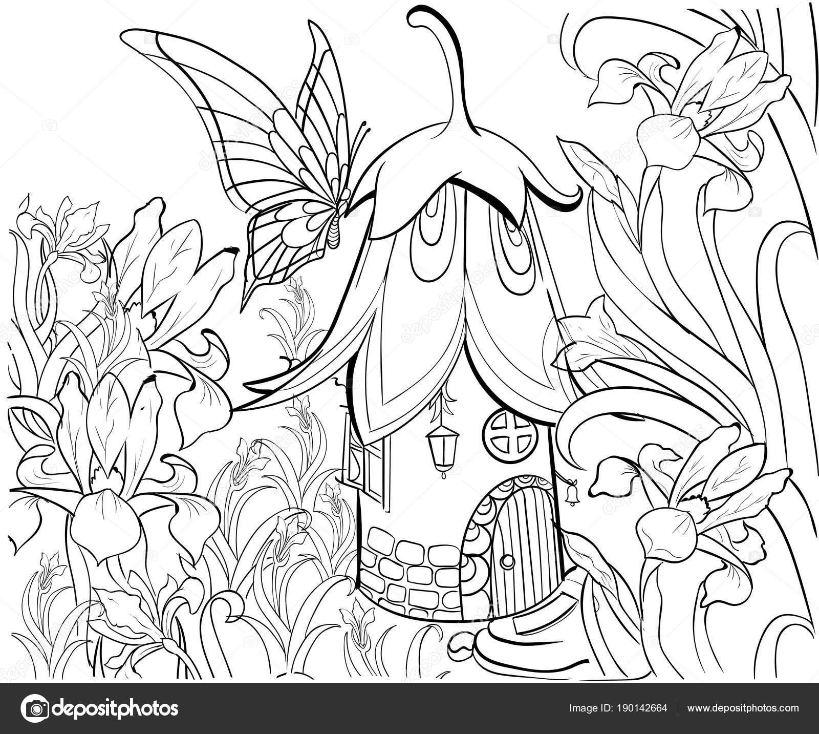 Kleurplaten Voor Volwassenen Tattoo.Fairy Huis Kleurplaten Boek Floral Elementen Vlinder En Bloemen