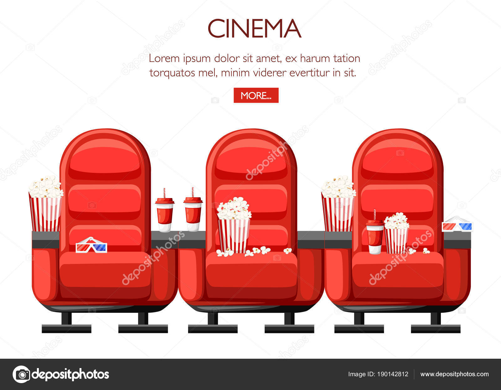 Cinema concept. Auditorium and three red comfortable ...