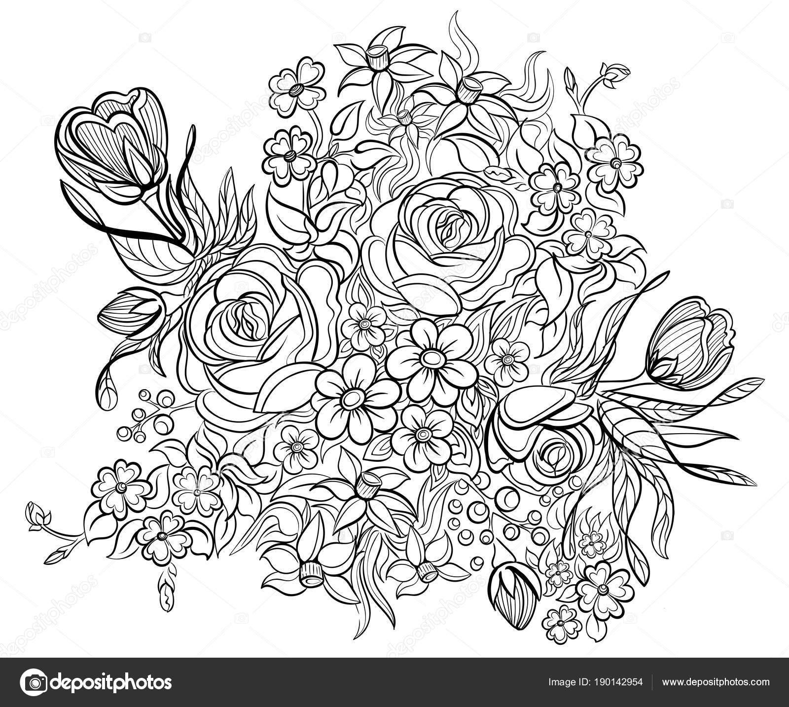 Kleurplaten Voor Volwassenen Tattoo.Floral Elementen En Bladeren Voor Coloring Boek Antistress
