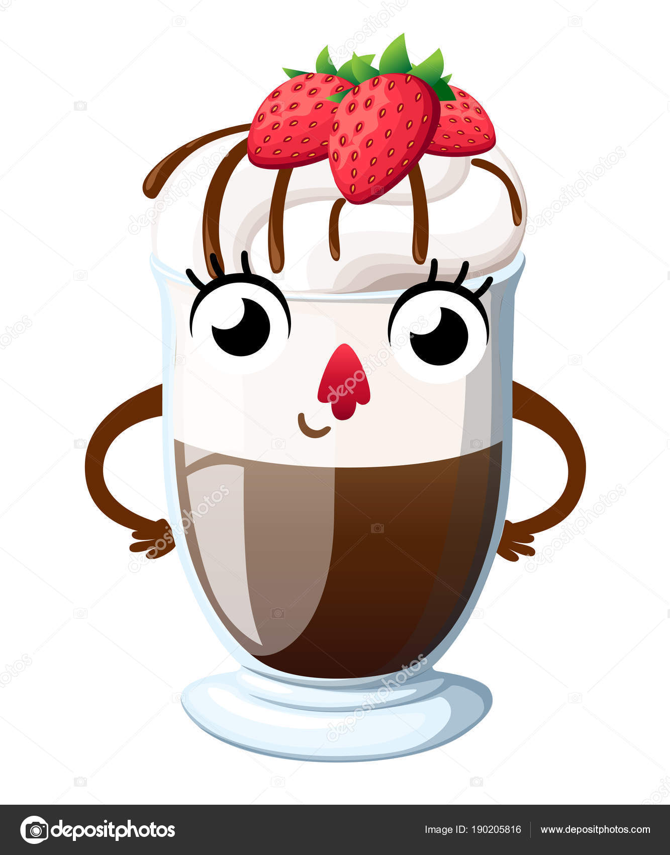 Hot chocolate with whipped cream and strawberry  Cartoon style