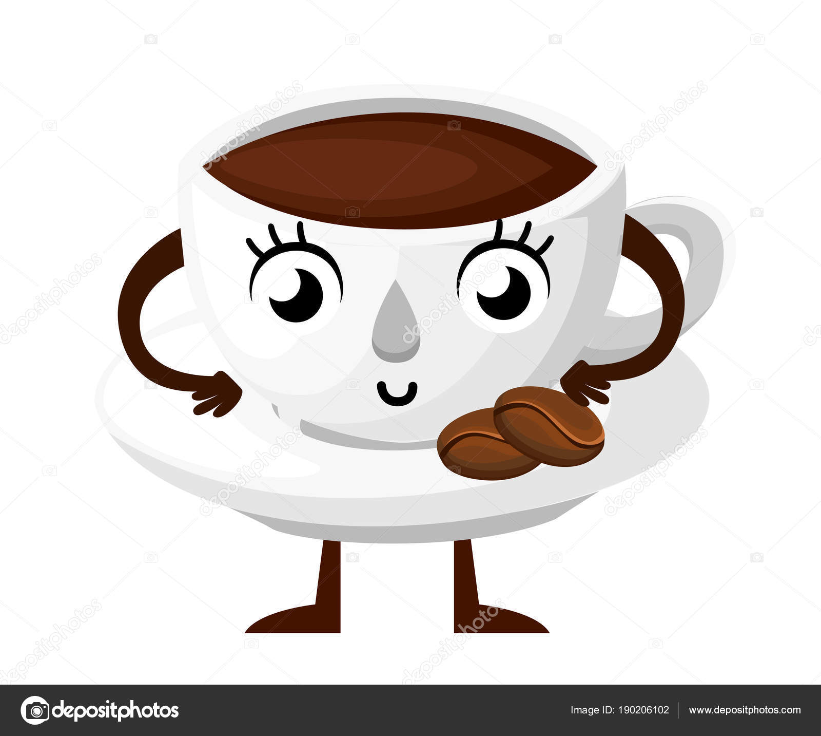 Cup of coffee with saucer  Cartoon style character design  Mascot