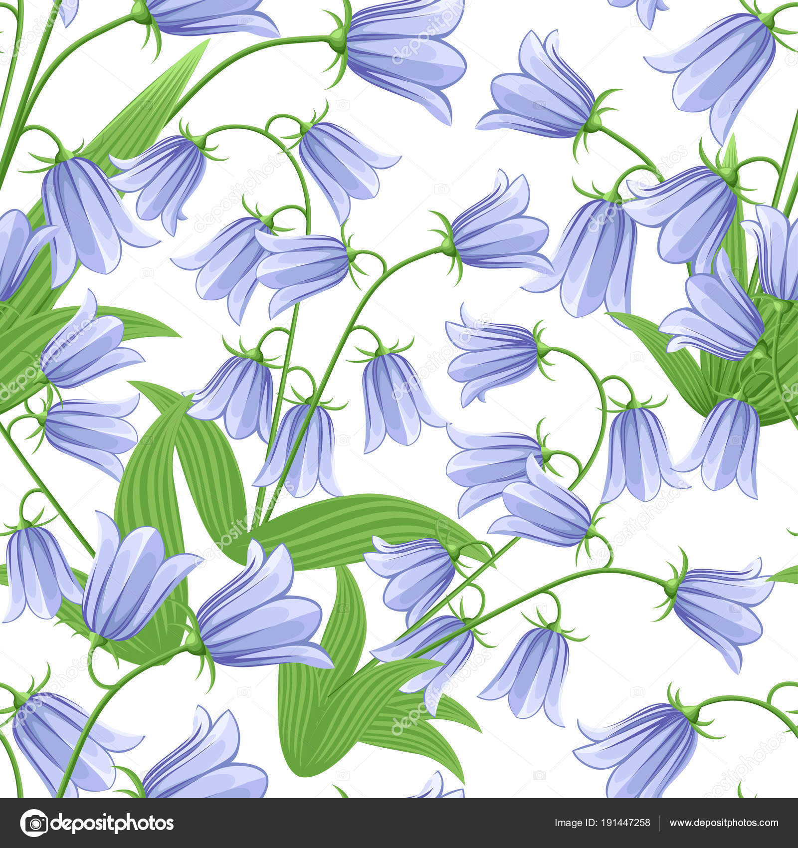 Seamless Pattern Of Bluebells Bluebell Flowers With Green Leaves