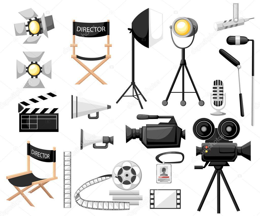 collection d images faire une ic ne de dessin anim de film d finie chaise r alisateur cin. Black Bedroom Furniture Sets. Home Design Ideas