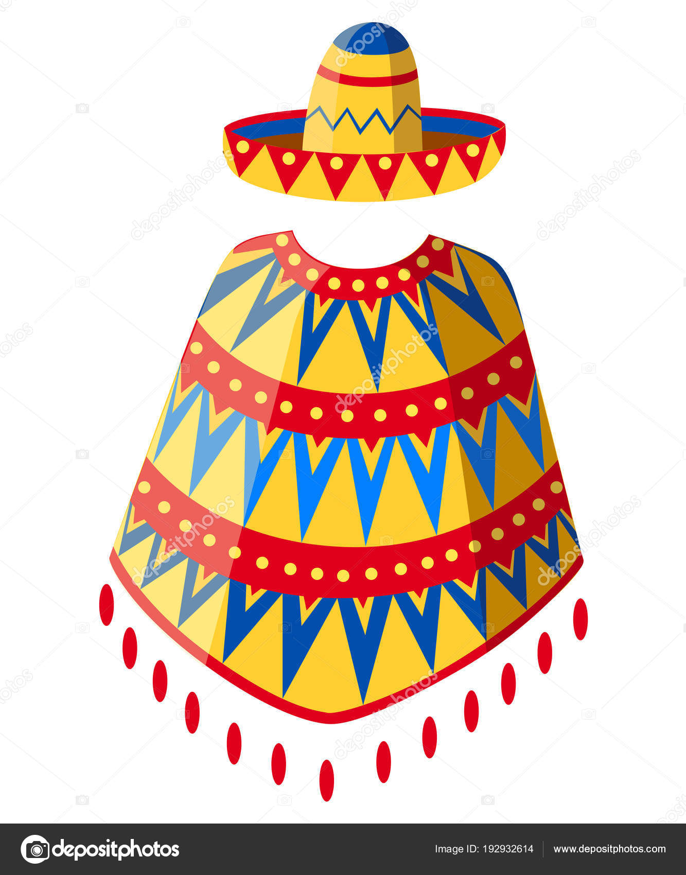Sombrero bande dessin e mexicaine chapeau et poncho homme silhouette d cor de symbole parti - Dessin du mexique ...