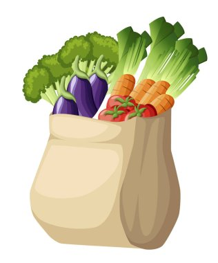 Eco friendly paper bag. Recycled shopping bag with vegetables. Recycled pack with fresh organic food. Healthy vegetables grown locally. Vector illustration isolated on white background. icon