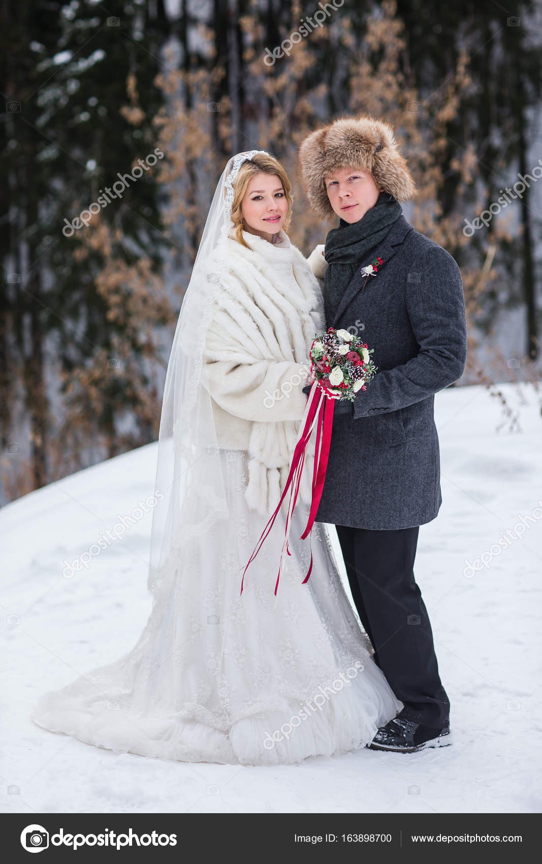 Narzeczeni Na Ich ślub Zimą Miłośnicy Zdjęcie Stockowe