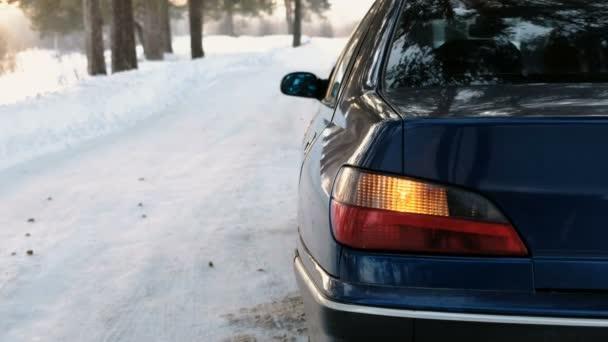 Alarmu se rozsvítí na levé straně vozidla ve winter parku. Pohled zezadu a ze strany.