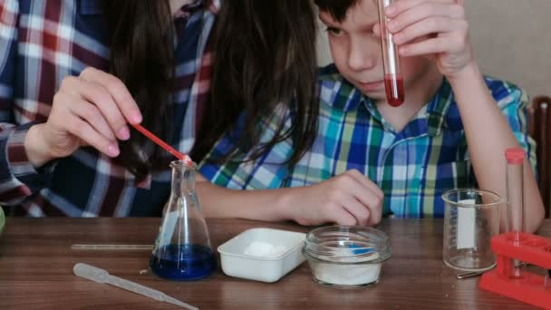 Chemistry experiments at home  Mom and son make a chemical reaction with  the release of gas in the flask