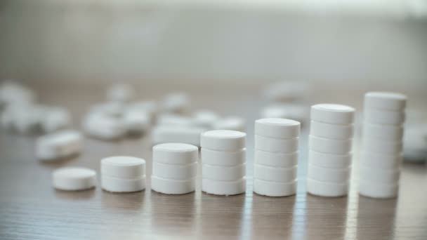 Columns of tablets on the table close-up. The concept of increasing the price of medicines