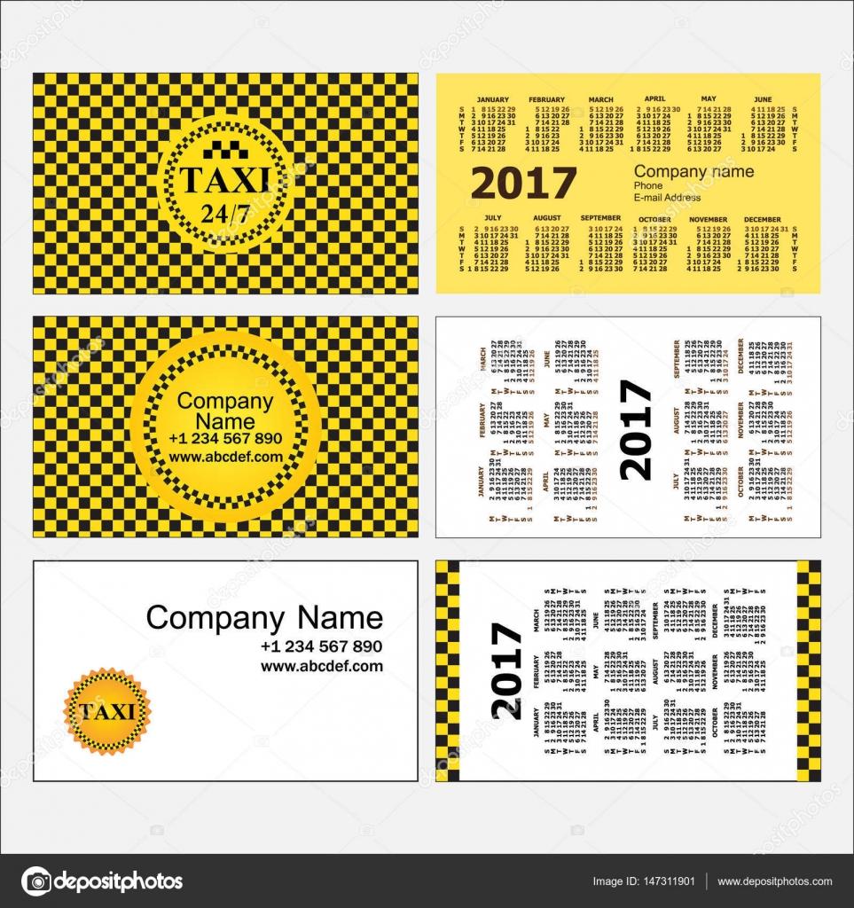 Taxi Stilvolle Satz Von Visitenkartenvorlagen Und Kalender