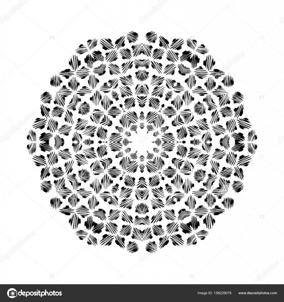 Patrón circular de vectores estilo grunge. Patrón de punto de indio ...