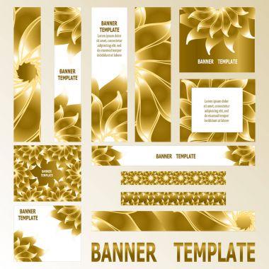 Decorative golden web banners. Set of 12 elements.