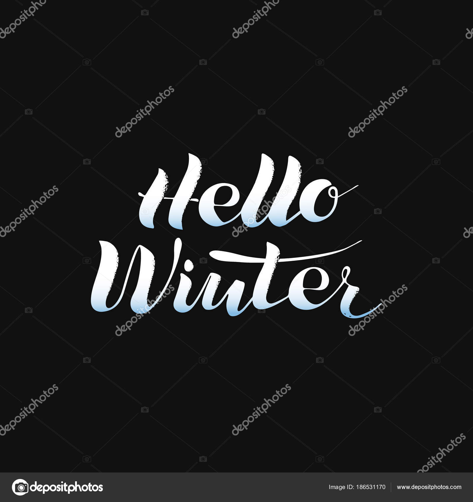 Hello Winter Phrase Lettering White On Black Winter Logos And