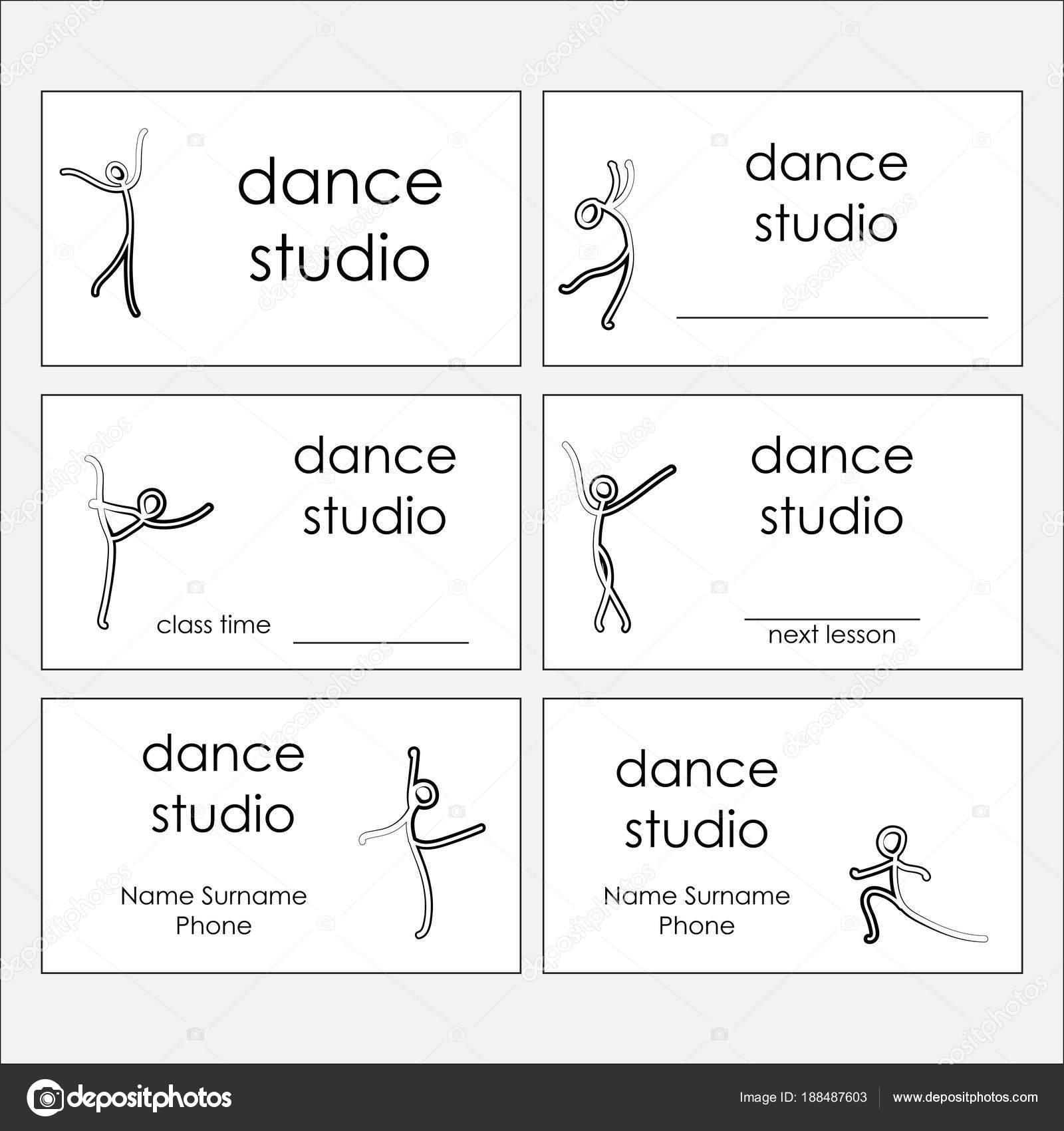 Design of business cards of dance studio, dance club. Vector ...