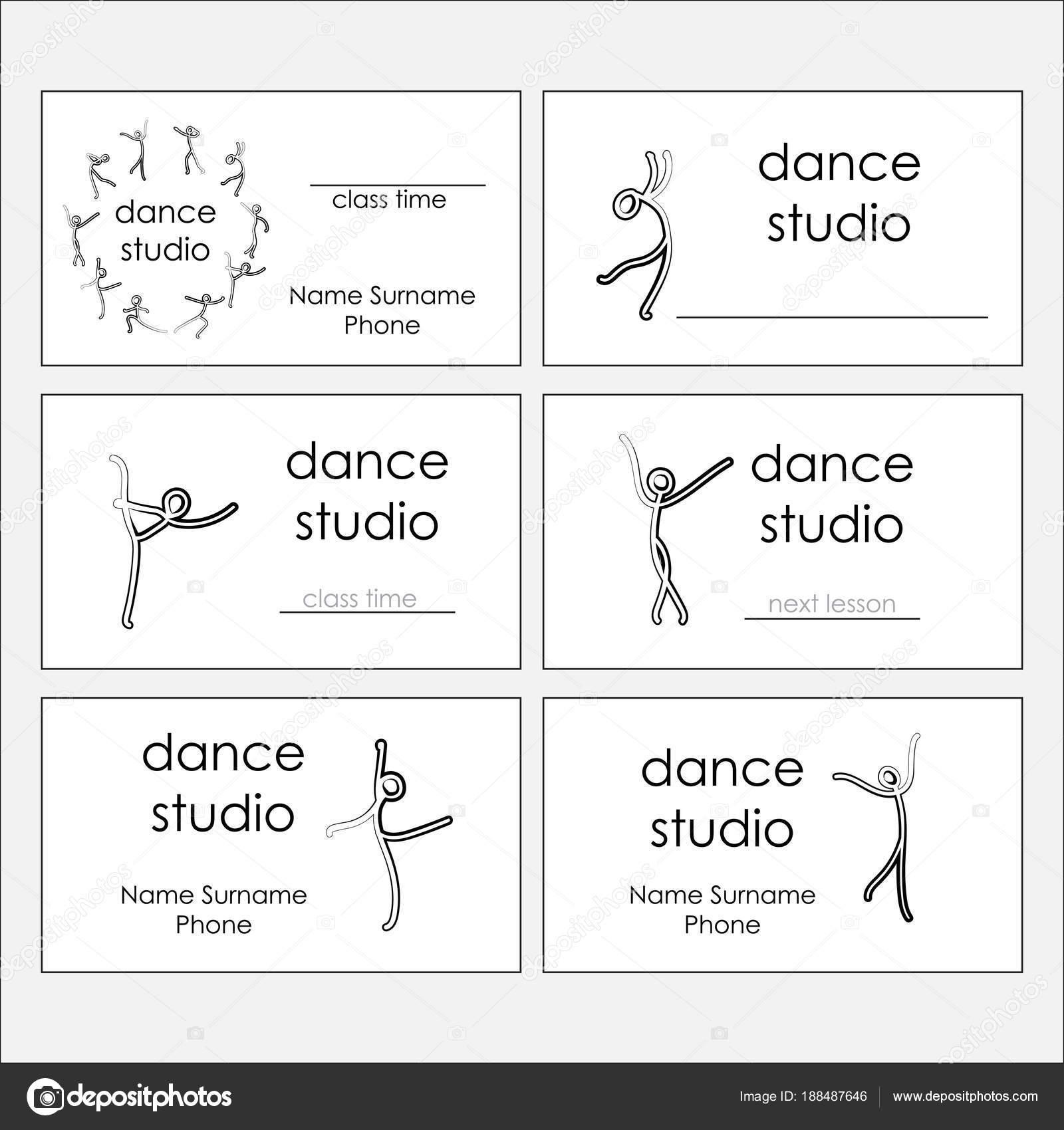 Design of business cards of dance studio, dance class. Vector ...