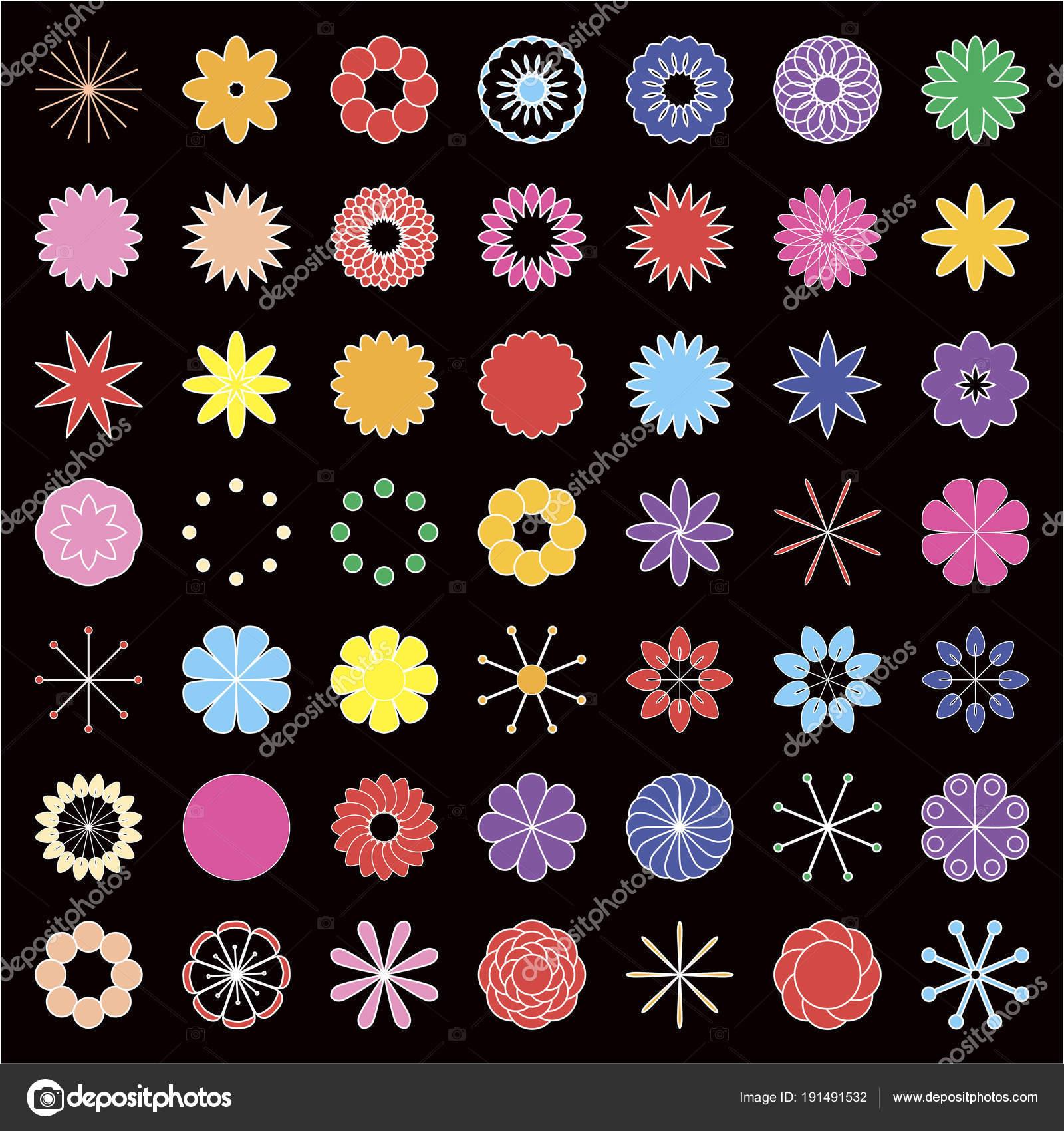 Der Designer der Farben. Von einfachen Elementen setzen Bunte Blumen ...