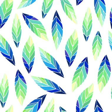 Seamless pattern with bird feathers. Vector illustration