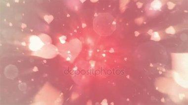 Den svatého Valentýna abstraktní pozadí, létající srdce a částic v tunelu. Loopable