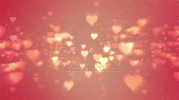 Valentines day abstract background,flying hearts and particles.Loopable.