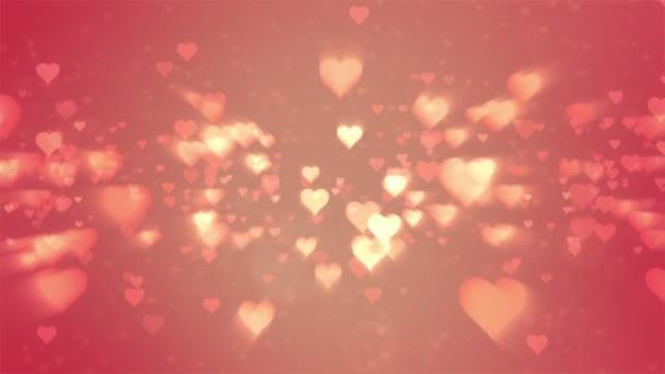 Den svatého Valentýna abstraktní pozadí, létající srdce a částic. Loopable