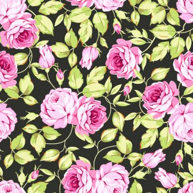 pattern with pink roses and leaves