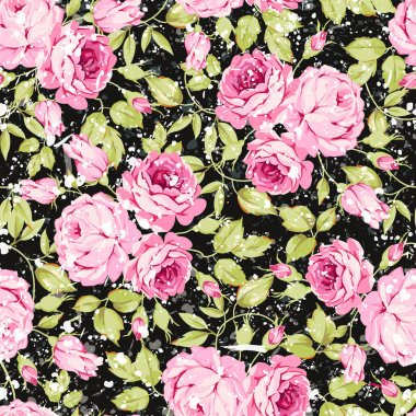 Vintage seamless floral pattern with pink roses and leaves on black background