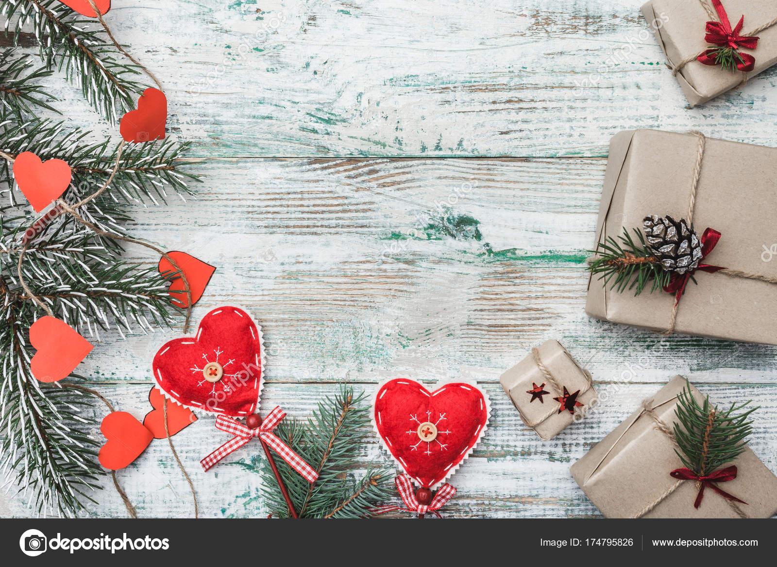 Red Hearts Handmade Greeting Card Christmas Christmas New Year Xmas