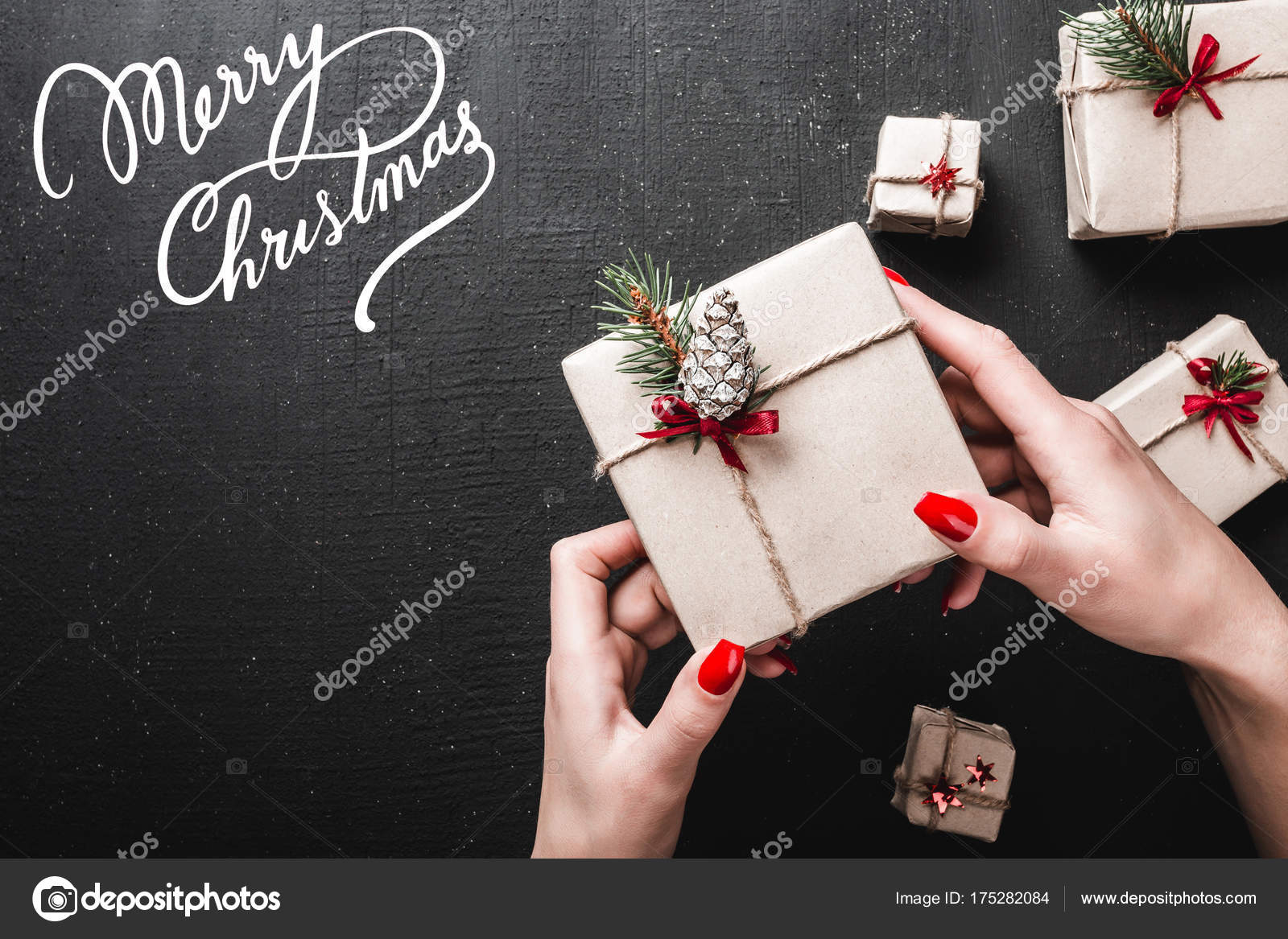 Christmas Card Black Background Lady Holds Gift Her Hands Handmade ...