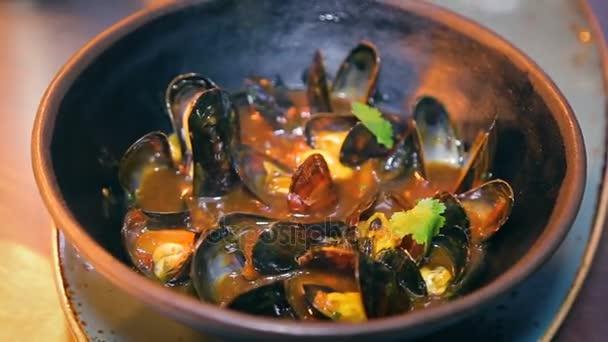 frische Muscheln Schüssel Küche Fischrestaurant