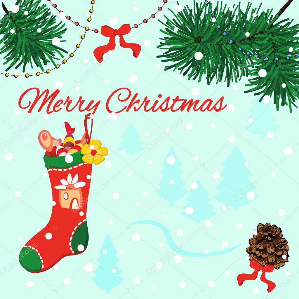 Frohe Weihnachten Grusskarte mit Tannenzapfen, roten Bögen, rote ...