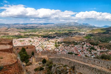 Panoramic view of Nafplio town from Palamidi Castle, Peloponnese, Greece