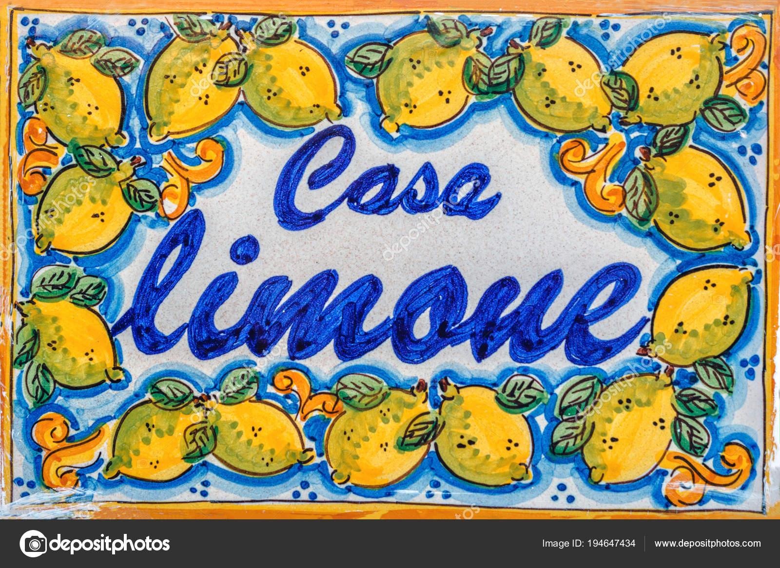 Nome della casa decorativa cancelletto con limoni sicilia italia