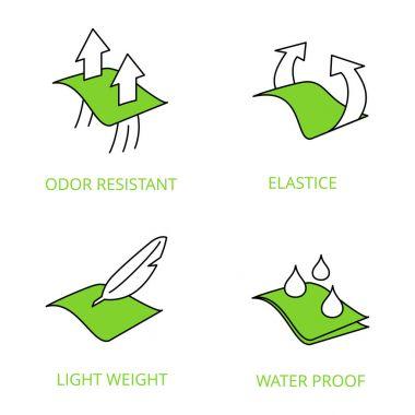 Garmenrt properties icons. Waterproof, Sun protection, elastane, Breathable, Membrane, Waterproof, Solar protection, Whater resistant
