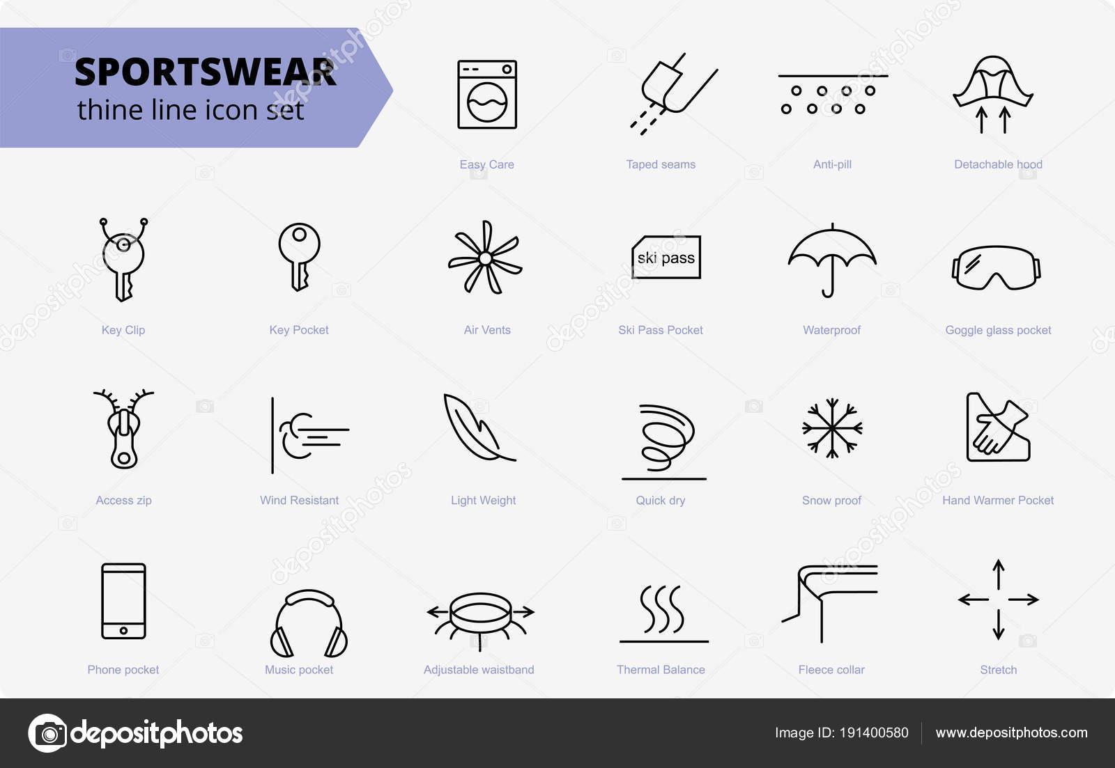 stoff und kleidung verfügen linie symbole. linearer verschleiß