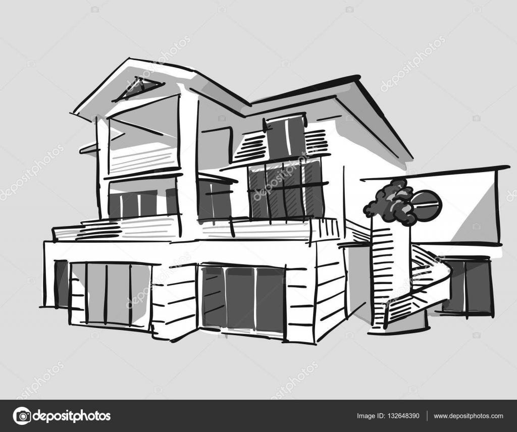 Dessin maison de r ve en niveaux de gris image for Maison de reve plan