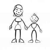 Strichmännchen Mutter mit Sohn