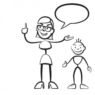 Stick figure persona woman with child and speech bubble