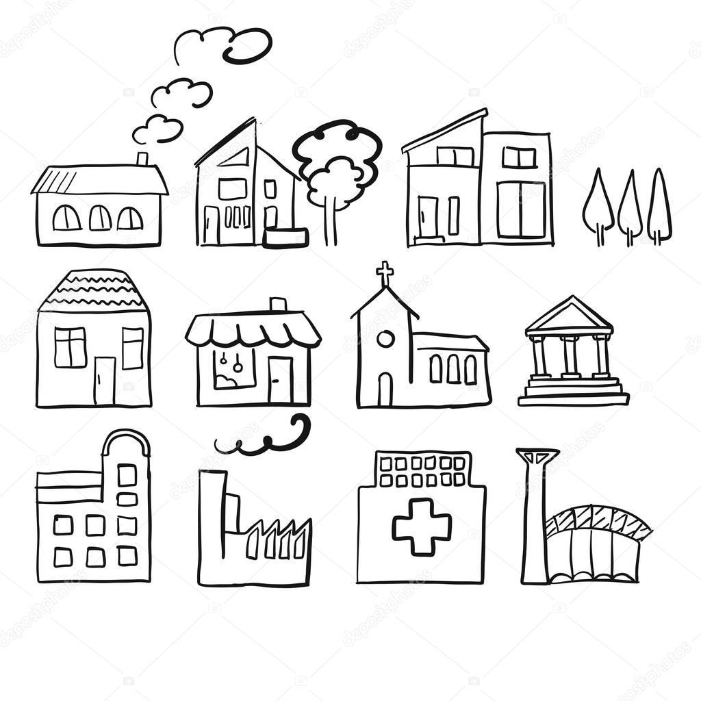 Vários tipos de casa, esboço rápido vector — Vetor de ...