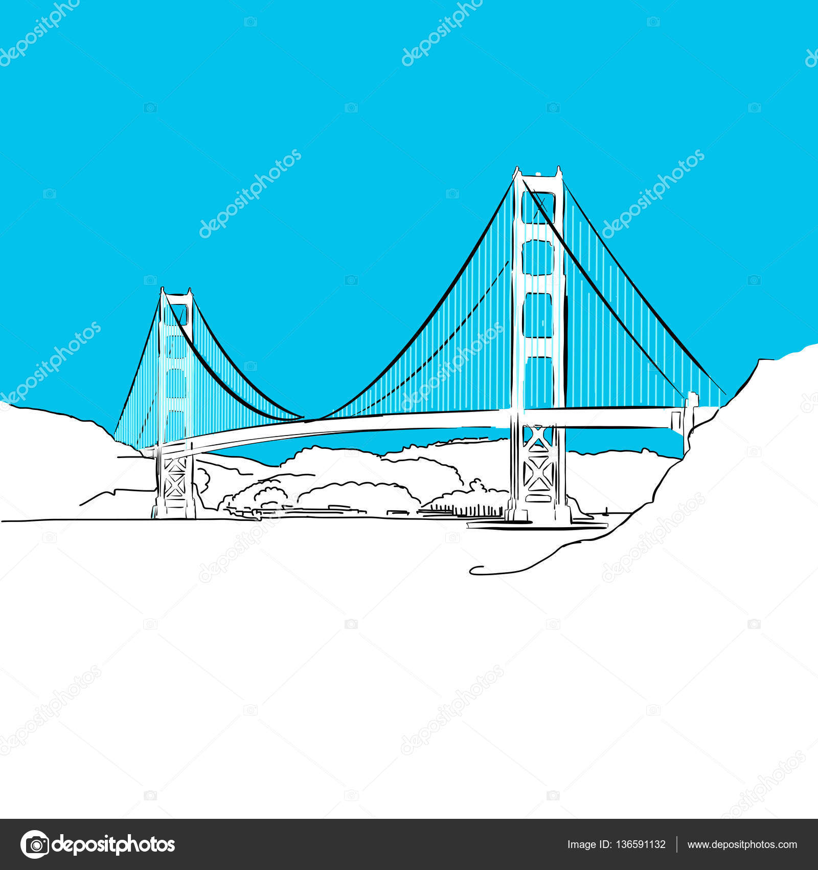 Golden Gate Bridge Vektor Blaue Reihe Stockvektor Mail Diagram Of The