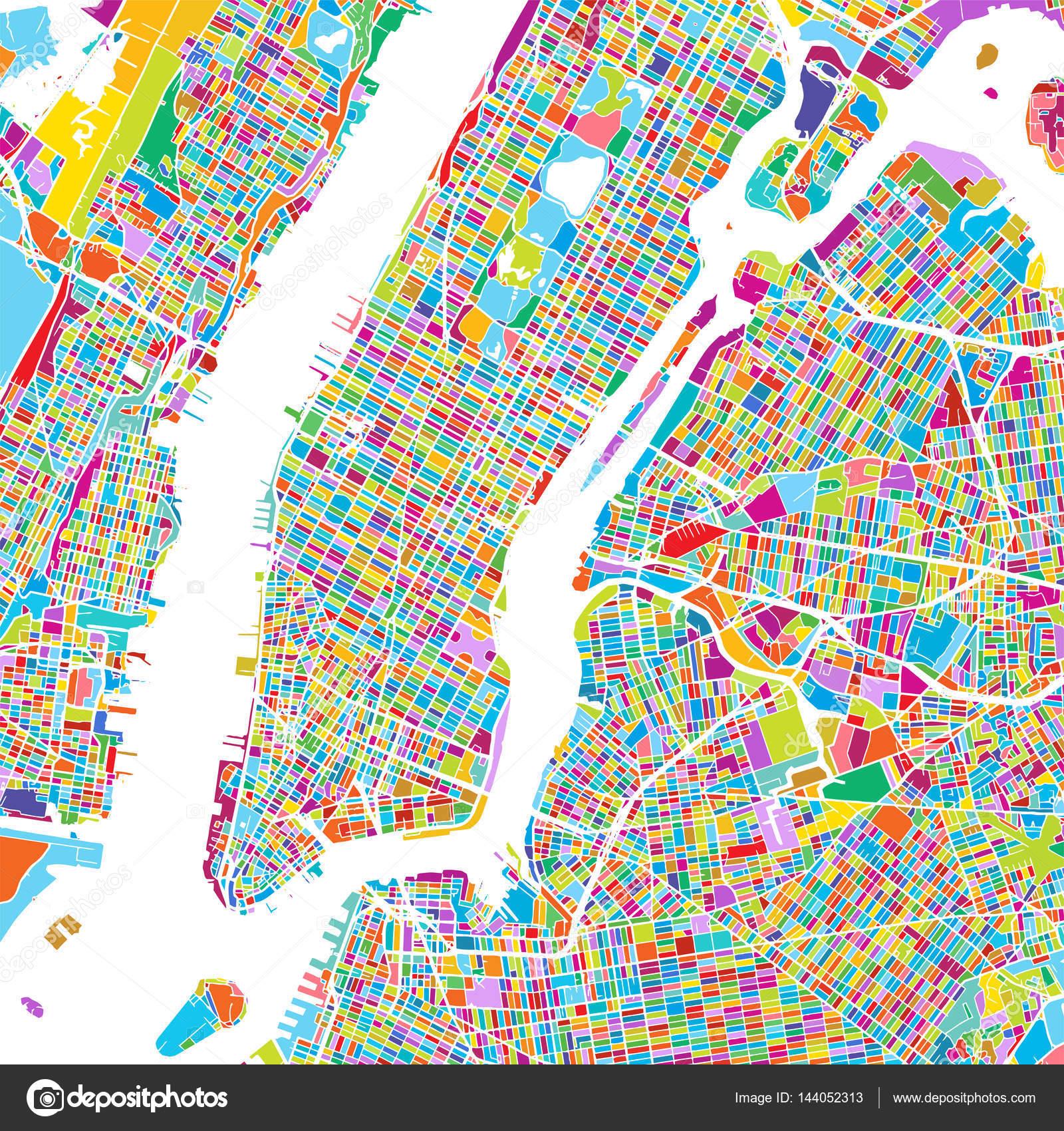 Map Of New York City Manhattan.New York City Manhattan Colorful Map Stock Vector C Mail Hebstreit